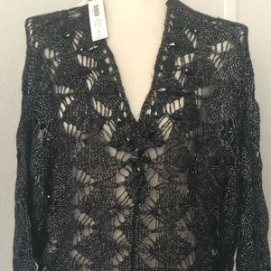 NWT Chico's Fancy Black VNeck Sweater with Beads